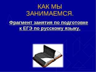 КАК МЫ ЗАНИМАЕМСЯ. Фрагмент занятия по подготовке к ЕГЭ по русскому языку.