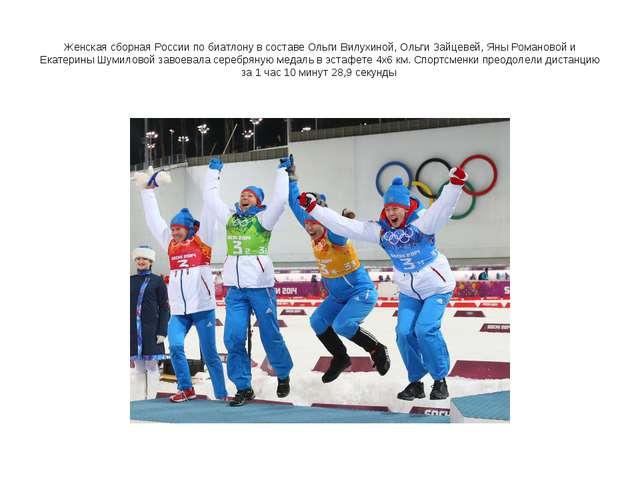 Женская сборная России по биатлону в составе Ольги Вилухиной, Ольги Зайцевей,...