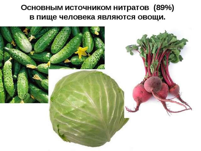 Основным источником нитратов (89%) впище человека являются овощи.