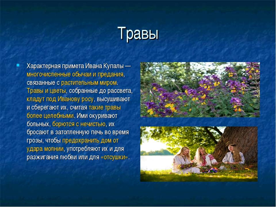 Травы Характерная примета Ивана Купалы— многочисленные обычаи и предания, св...