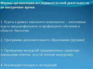 Формы организации исследовательской деятельности во внеурочное время Формы о