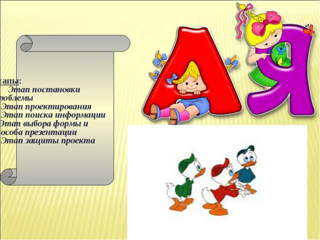 Этапы: Этап постановки Проблемы 2. Этап проектирования 3. Этап поиска информа...