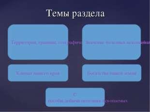 Темы раздела Территория, границы, географическое положение Кемеровской област