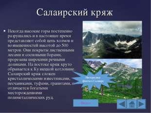 Салаирский кряж Некогда высокие горы постепенно разрушались и в настоящее вре