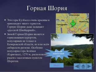 Горная Шория Эти горы Кузбасса очень красивы и привлекают много туристов. Гор