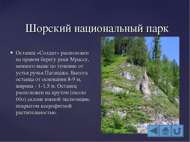 Шорский национальный парк Останец «Солдат» расположен на правом берегу реки М...