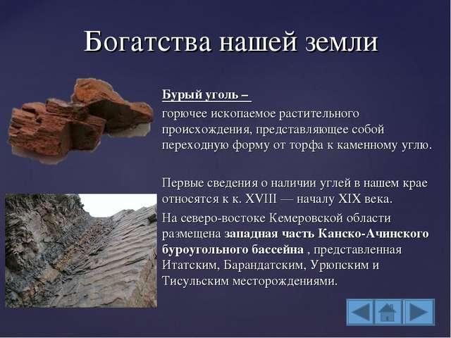 Бурый уголь – горючее ископаемое растительного происхождения, представляющее...