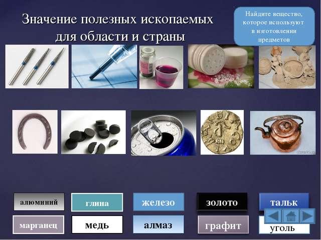 Значение полезных ископаемых для области и страны алмаз железо алюминий медь...