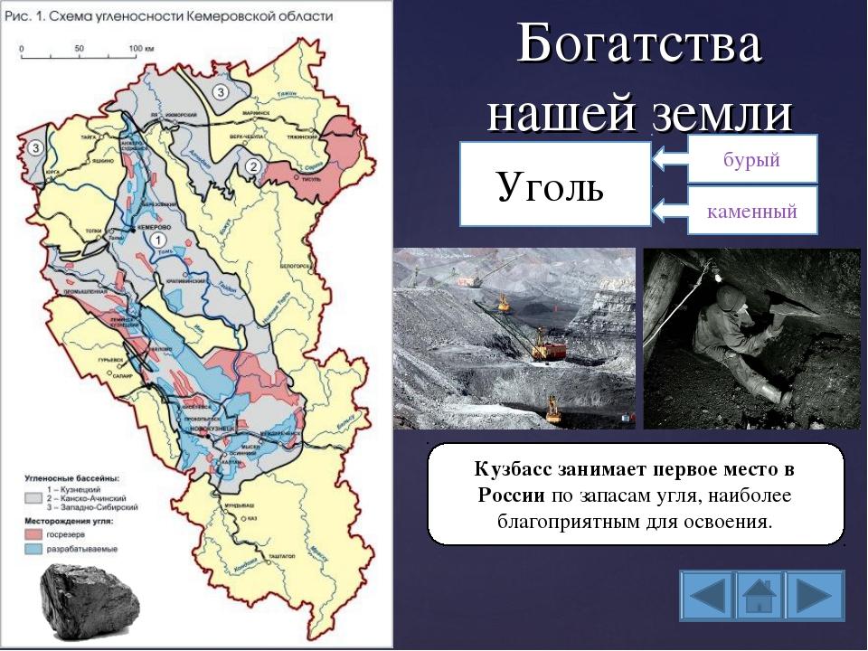 Богатства нашей земли Уголь Кузбасс занимает первое место в России по запасам...