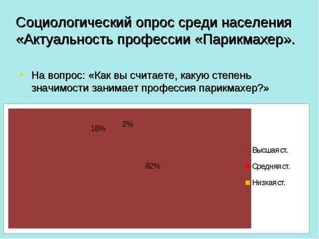 Социологический опрос среди населения «Актуальность профессии «Парикмахер». Н...