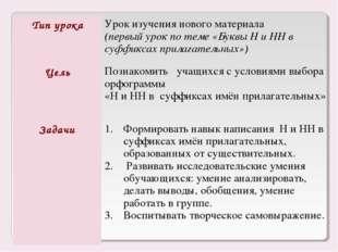 Тип урокаУрок изучения нового материала (первый урок по теме «Буквы Н и НН в