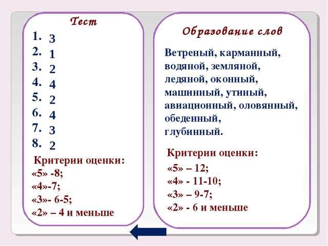 Тест 1. 2. 3. 4. 5. 6. 7. 8. Образование слов 3 1 2 4 2 4 3 2 Ветреный, карм...