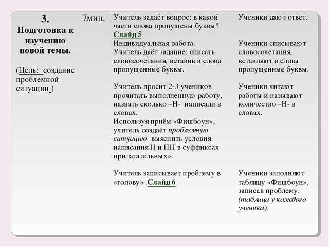 3. Подготовка к изучению новой темы. (Цель: создание проблемной ситуации ) 7...
