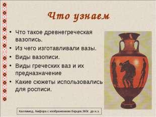 Что узнаем Что такое древнегреческая вазопись. Из чего изготавливали вазы. Ви
