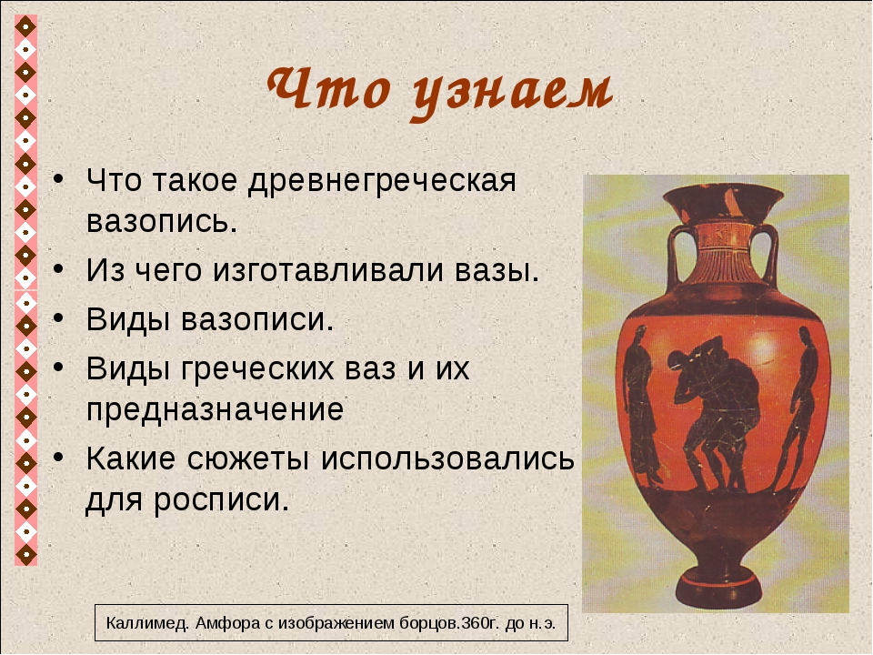 Что узнаем Что такое древнегреческая вазопись. Из чего изготавливали вазы. Ви...