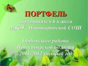 ПОРТФЕЛЬ обучающихся 6 класса МКОУ- Новошарапской СОШ Ордынского района Новос