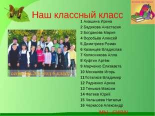 Наш классный класс 1 Акашина Ирина 2 Бадикова Анастасия 3 Богданова Мария 4 В
