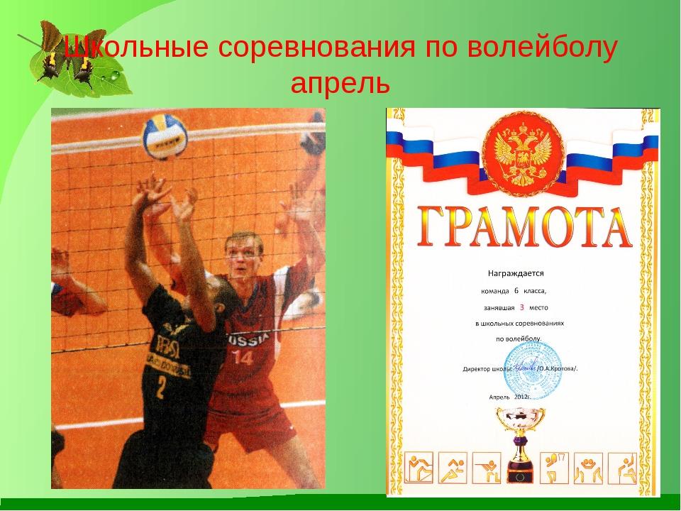 Школьные соревнования по волейболу апрель