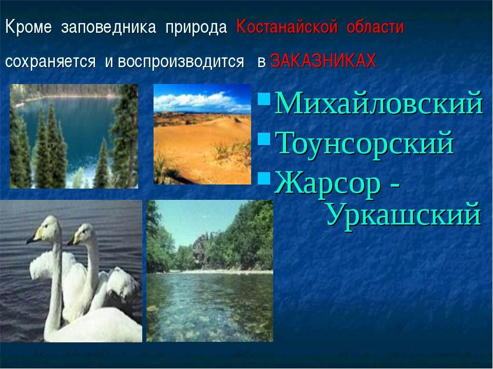 Кроме заповедника природа Костанайской области сохраняется и воспроизводится...