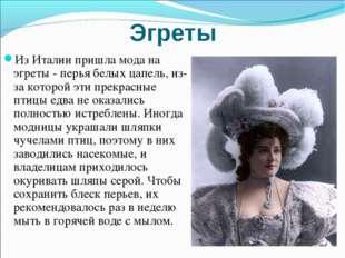 Эгреты Из Италии пришла мода на эгреты - перья белых цапель, из-за которой эт