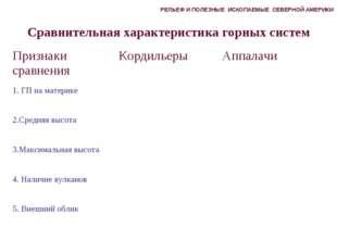 Сравнительная характеристика горных систем РЕЛЬЕФ И ПОЛЕЗНЫЕ ИСКОПАЕМЫЕ СЕВЕР