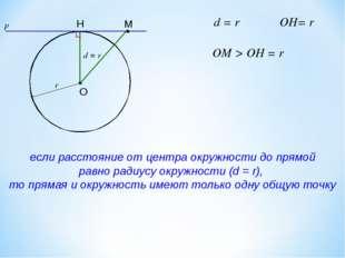 d = r если расстояние от центра окружности до прямой равно радиусу окружности