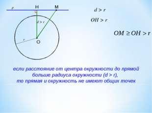 d > r если расстояние от центра окружности до прямой больше радиуса окружност