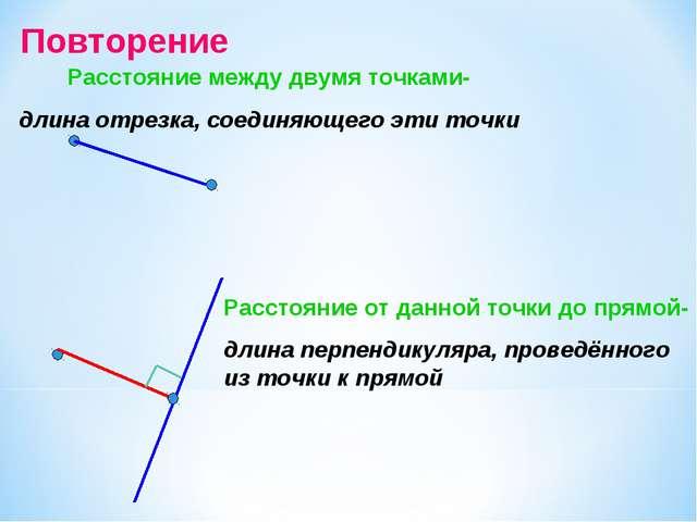 Повторение Расстояние между двумя точками- длина отрезка, соединяющего эти то...