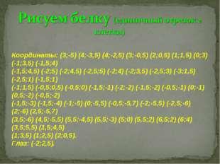 Координаты: (3;-5) (4;-3,5) (4;-2,5) (3;-0,5) (2;0,5) (1;1,5) (0;3) (-1;3,5)