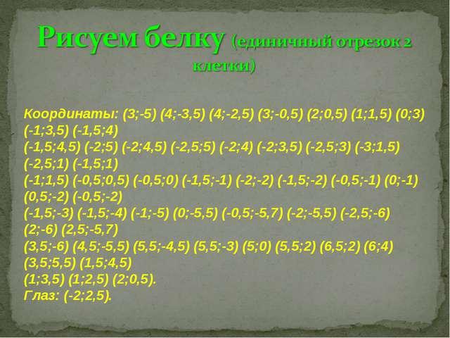 Координаты: (3;-5) (4;-3,5) (4;-2,5) (3;-0,5) (2;0,5) (1;1,5) (0;3) (-1;3,5)...