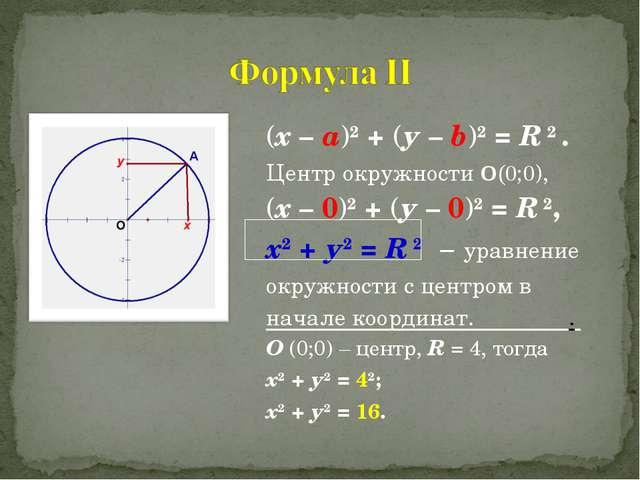 (х – а)2 + (у – b)2 = R 2 . Центр окружности О(0;0), (х – 0)2 + (у – 0)2 = R...