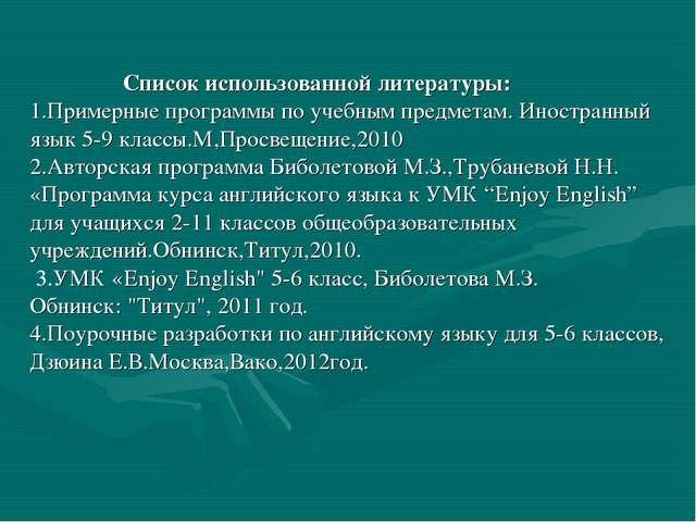 Список использованной литературы: 1.Примерные программы по учебным предмета...