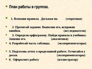 План работы в группах. 1. Вспомни правила. Доскажи их. (теоретики) 2. Прочита