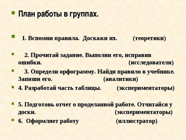 План работы в группах. 1. Вспомни правила. Доскажи их. (теоретики) 2. Прочита...