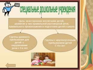 Цель: всестороннее воспитание детей, развитие у них правильной разговорной р