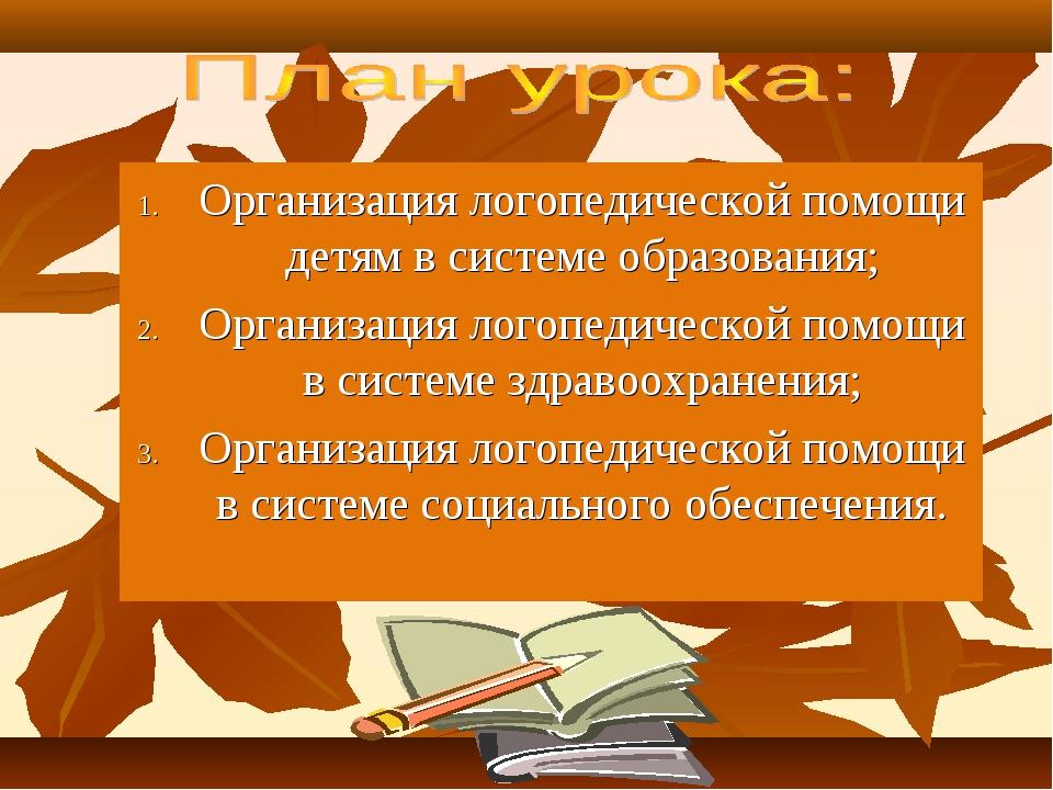 Организация логопедической помощи детям в системе образования; Организация л...