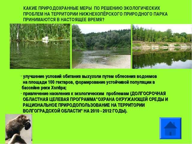 улучшение условий обитания выхухоли путем облесения водоемов на площади 100...