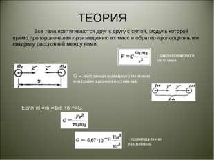 ТЕОРИЯ Все тела притягиваются друг к другу с силой, модуль которой прямо про