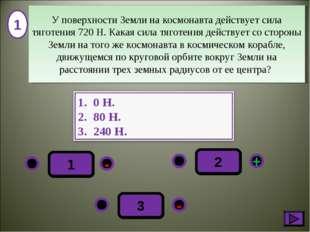 1 - + - 3 2 1 У поверхности Земли на космонавта действует сила тяготения 720