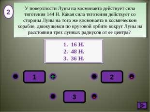 2 - + - 3 1 2 У поверхности Луны на космонавта действует сила тяготения 144Н