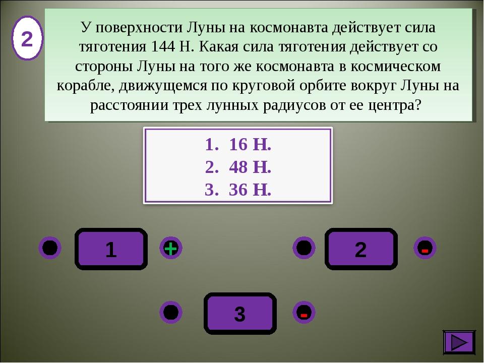 2 - + - 3 1 2 У поверхности Луны на космонавта действует сила тяготения 144Н...