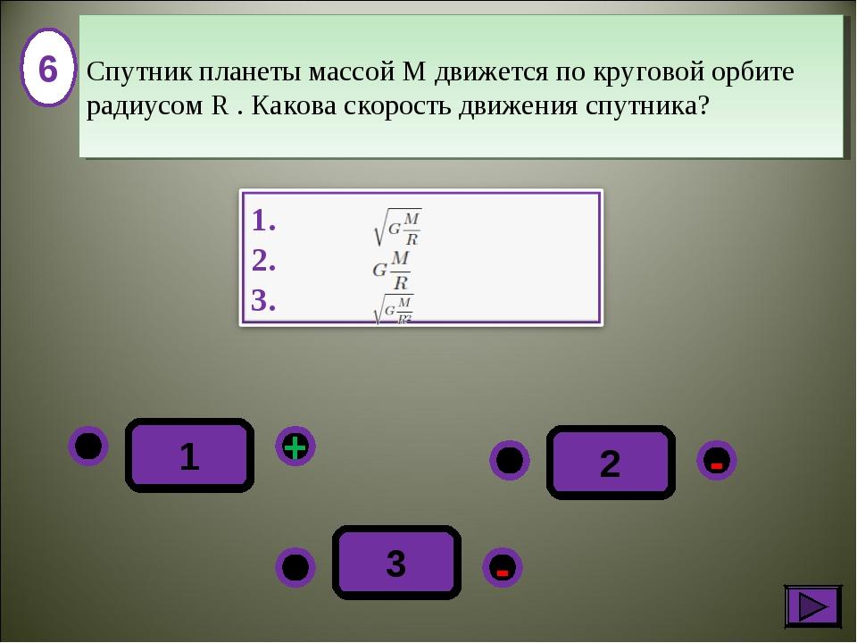 - + - 3 2 1 6 Спутник планеты массой M движется по круговой орбите радиусом R...