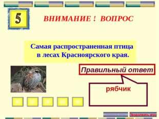 ВНИМАНИЕ ! ВОПРОС Самая распространенная птица в лесах Красноярского края. Пр