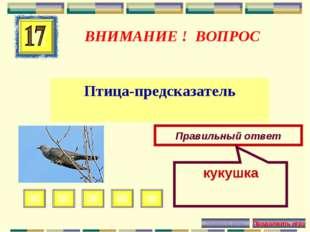 ВНИМАНИЕ ! ВОПРОС Птица-предсказатель Правильный ответ кукушка