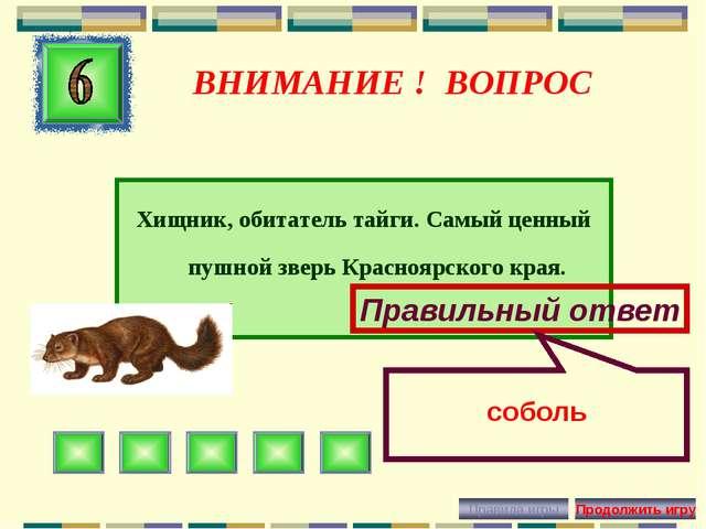 ВНИМАНИЕ ! ВОПРОС Хищник, обитатель тайги. Самый ценный пушной зверь Краснояр...