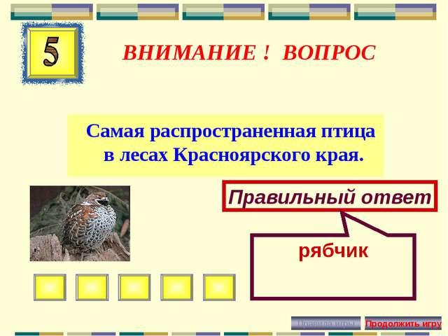 ВНИМАНИЕ ! ВОПРОС Самая распространенная птица в лесах Красноярского края. Пр...