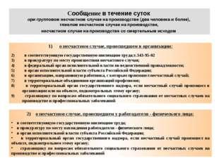 Сообщение в течение суток при групповом несчастном случае на производстве (дв