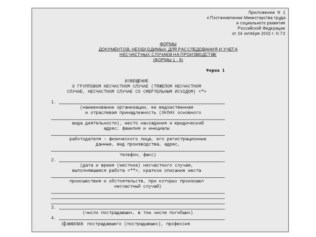 Приложение N 1 к Постановлению Министерства труда и социального развития Росс...