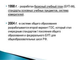 1998 г. - разработан базисный учебный план (БУП-98), стандарты основных учебн