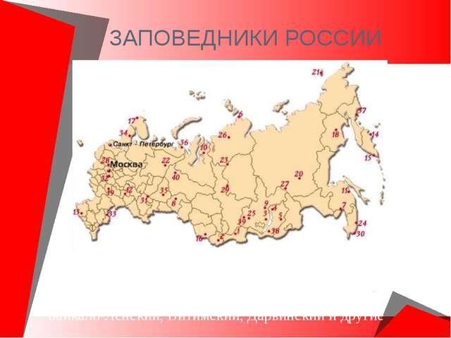 ЗАПОВЕДНИКИ РОССИИ В России насчитывается около 101 заповедника. Вот некоторы...